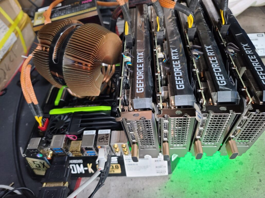 Miners showing several NVIDIA GeForce RTX 3060 graphics cards running with hash rate limit bypassed using the leaked BETA drivers.