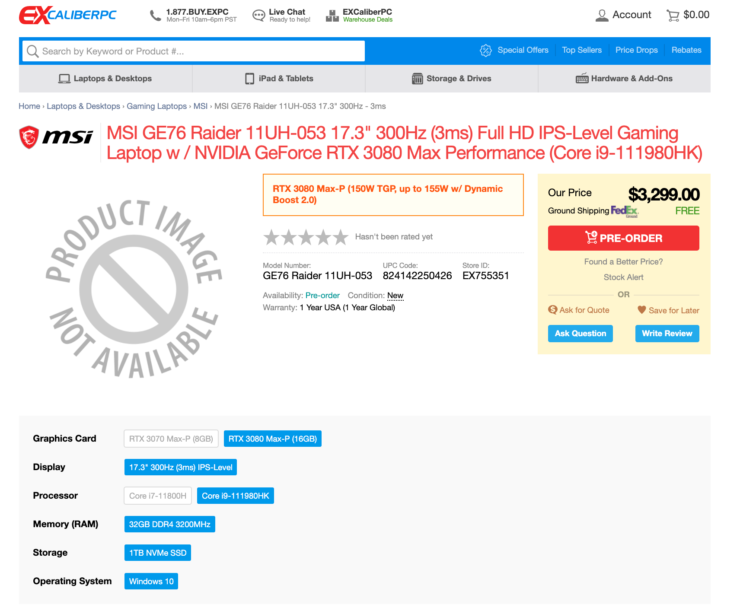 ExcaliberPC Tiger Lake-H GE76 Raider (11UH-053) Preorder Listing