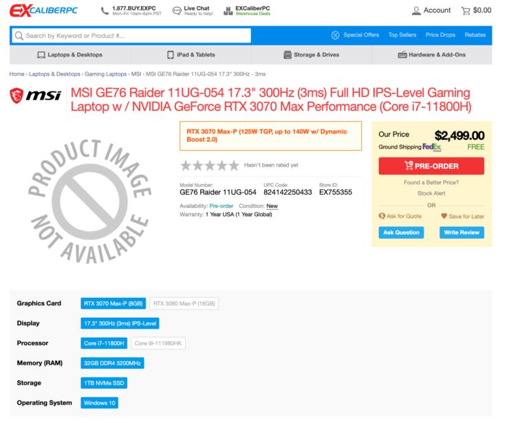 ExcaliberPC Tiger Lake-H GE76 Raider (11UG-054) Preorder Listing