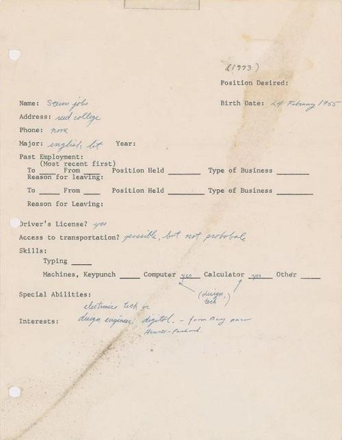 Steve Jobs job application from 1973