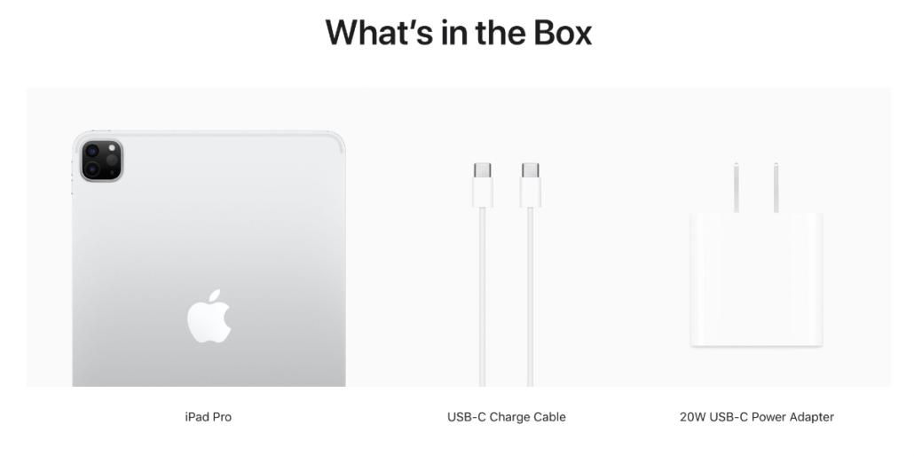 2021 iPad Pro Retail Box Contents: Tablet, USB-C Cable ...