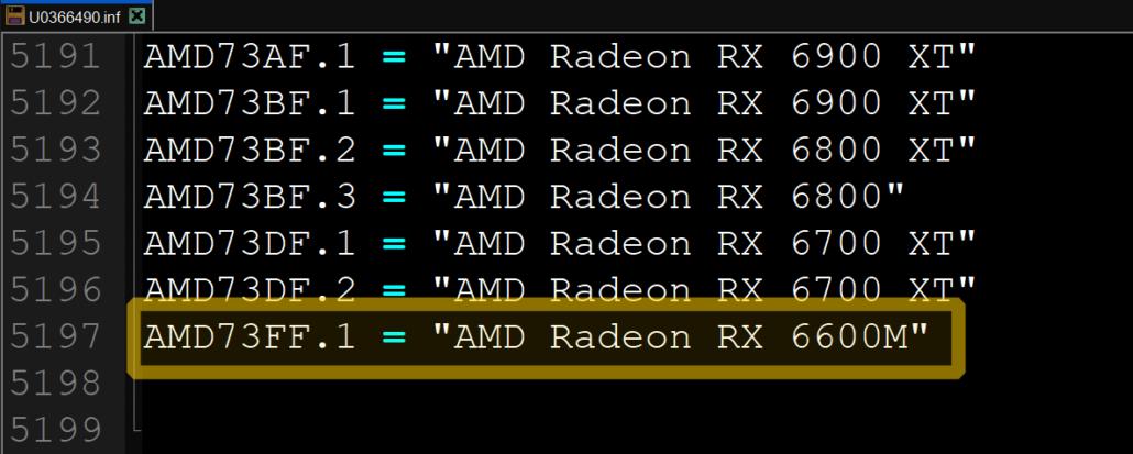 AMD Radeon RX 6600M RDNA 2 Navi 23 Mobility GPU