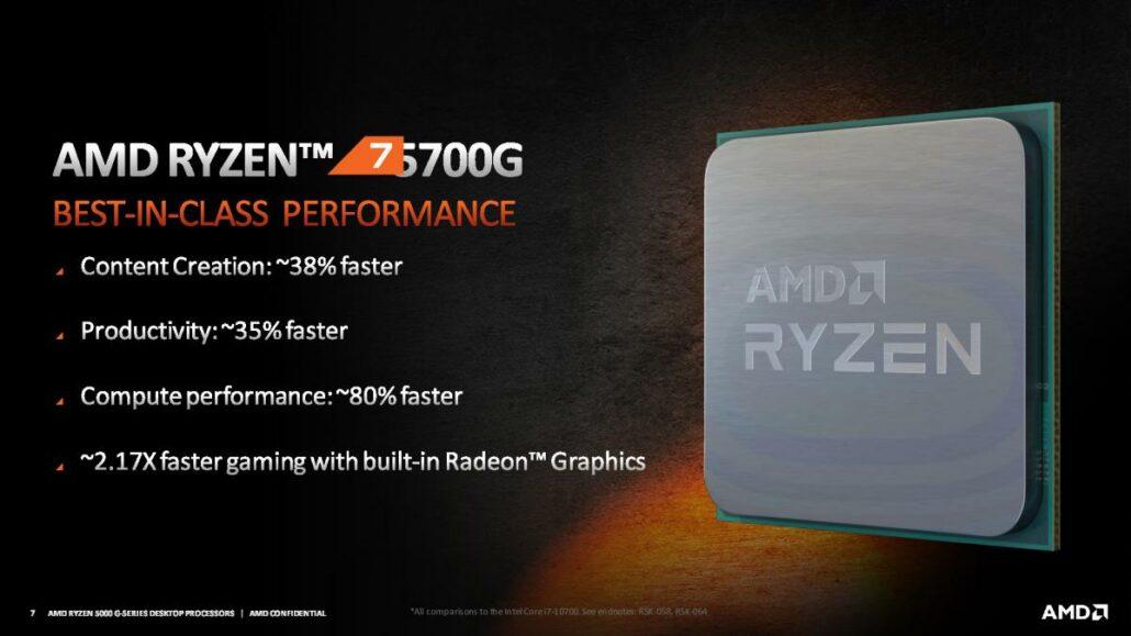 AMD Ryzen 5000G Cezanne Desktop APUs Ryzen 7 5700G Ryzen 5 5600G Ryzen 3 5300G 6
