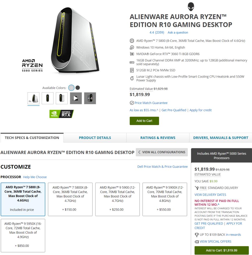 AMD Ryzen 9 5900 & Ryzen 7 5800 OEM Desktop CPUs Alienware Aurora Ryzen Edition Desktop PCs