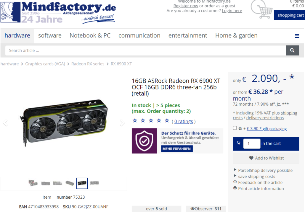 ASRock Radeon RX 6900 XT OC Formula Online Listing Price