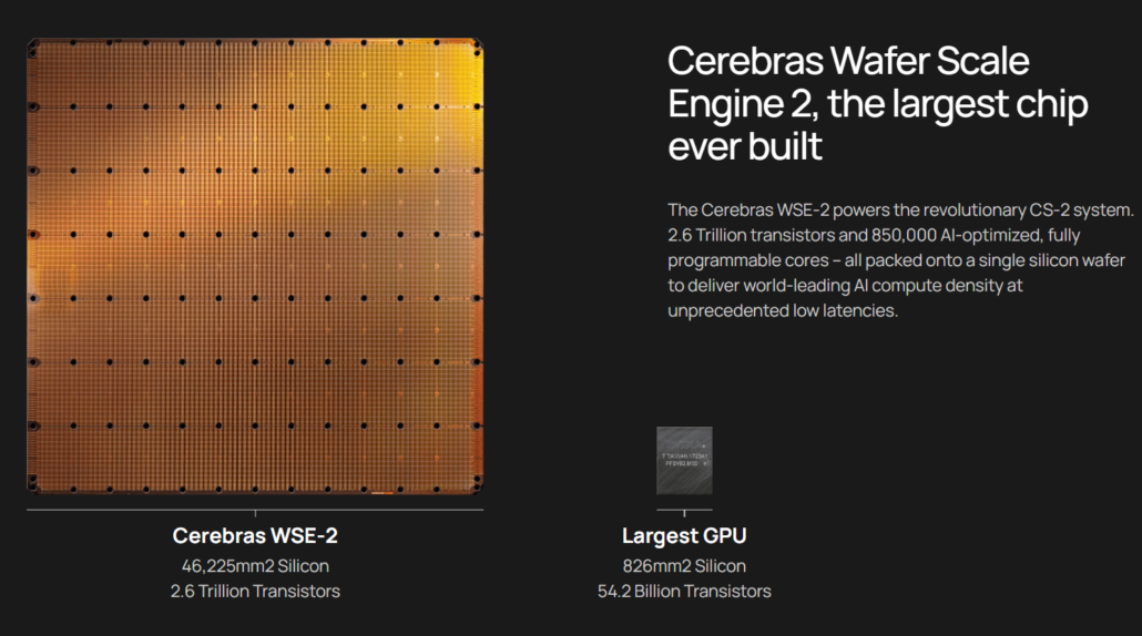 The Cerebras Wafer Scale Engine chip is compared next to NVIDIA's A100 AI GPU.
