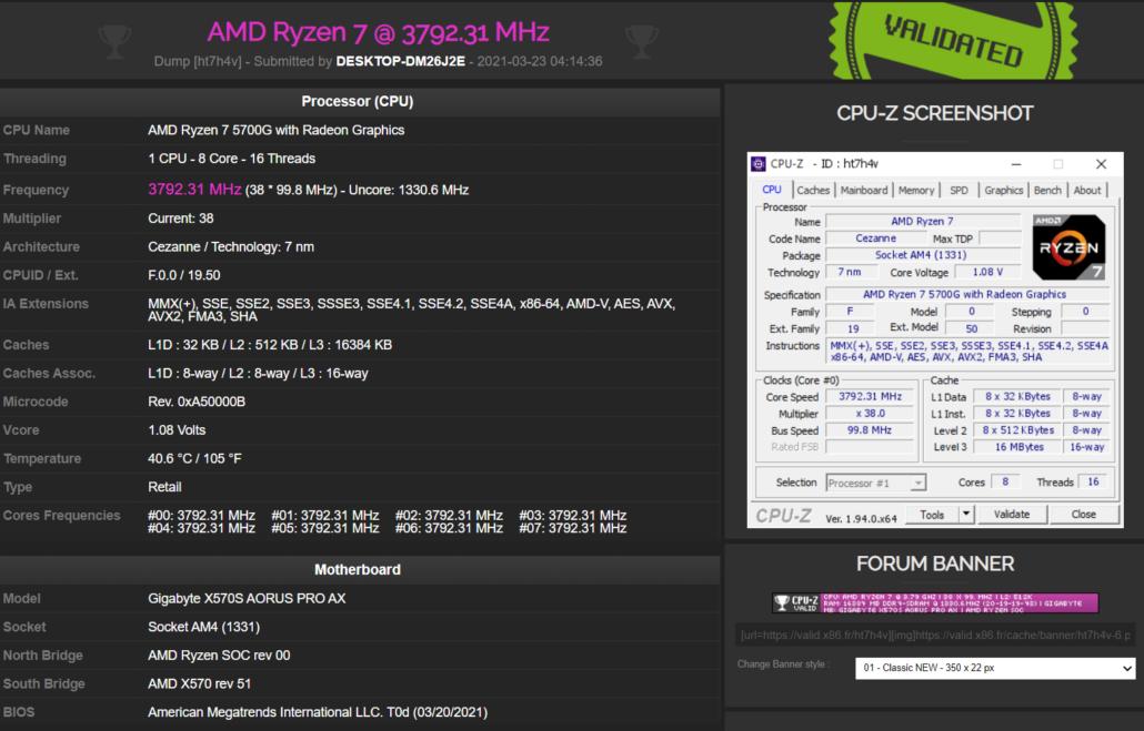 Gigabyte X570S AORUS PRO AX Motherboard & AMD Ryzen 7 5700G APU Spotted
