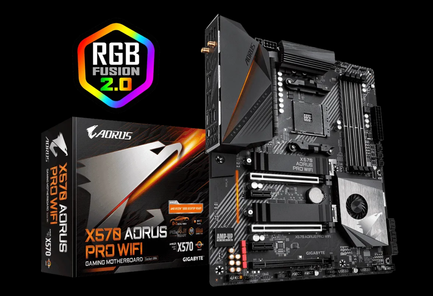 Gigabyte X570S motherboard terlihat dengan AMD Ryzen 7 5700G APU
