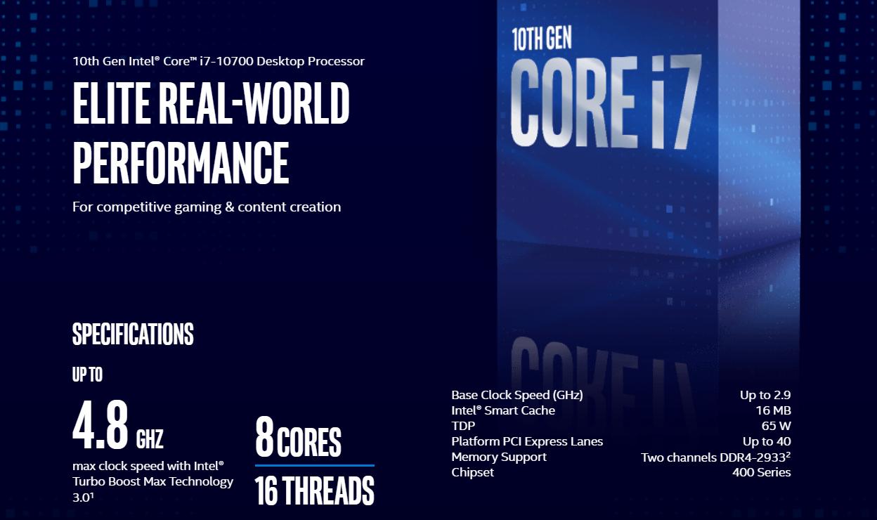 Intel Core i7-10700 8 Core Desktop CPU Newegg Sale