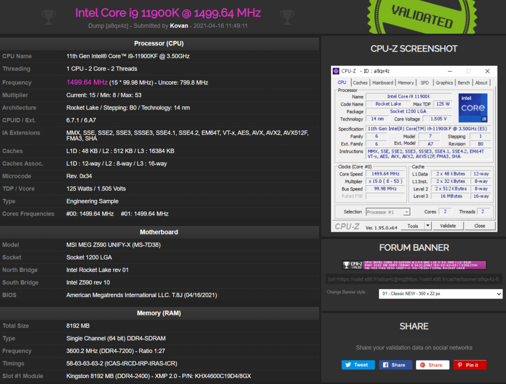 MSI MEG Z590 Unify X Motherboard DDR4 7200 MHz Memory Frequency World Record