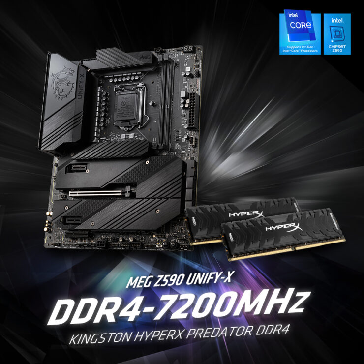 MSI MEG Z590 Unify X Motherboard DDR4 7200 MHz Memory Frequency World Record Official