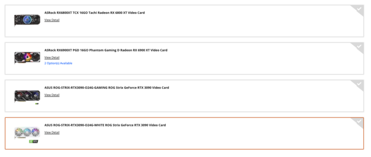 Newegg Shuffle selection of NVIDIA and AMD graphics cards