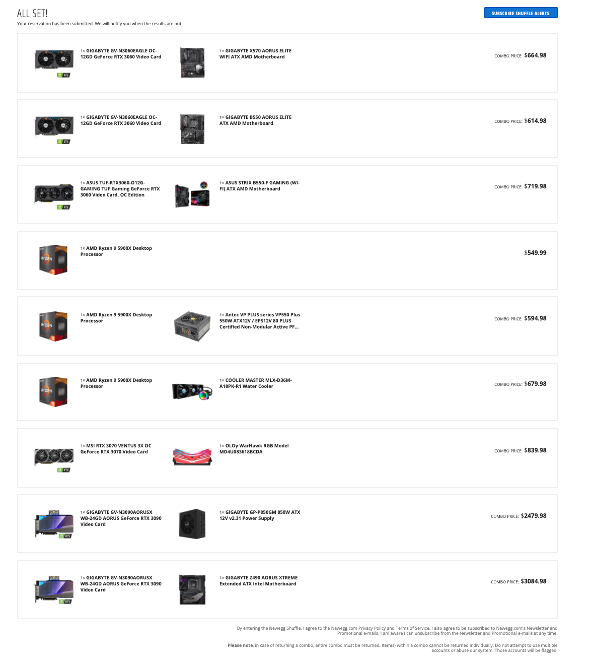 Selection confirmation of NVIDIA and AMD graphics cards in Newegg Shuffle