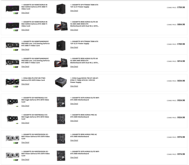 Selection of NVIDIA GeForce RTX 30 collection graphics playing cards in the Newegg Shuffle