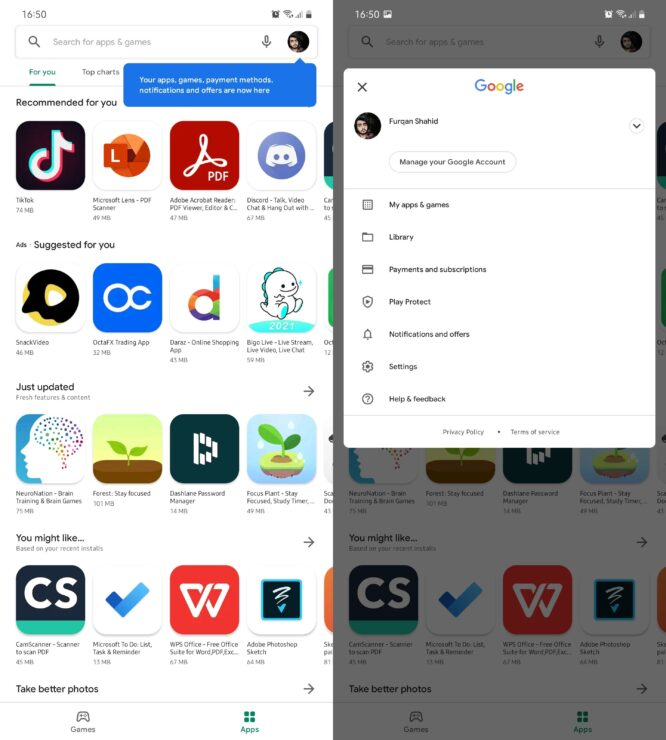 Google Play Store Gets a New UI and Gets Rid of Hamburger Menu