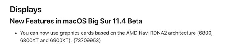 macOS Big Sur 11.4 Beta 1 AMD GPU Support