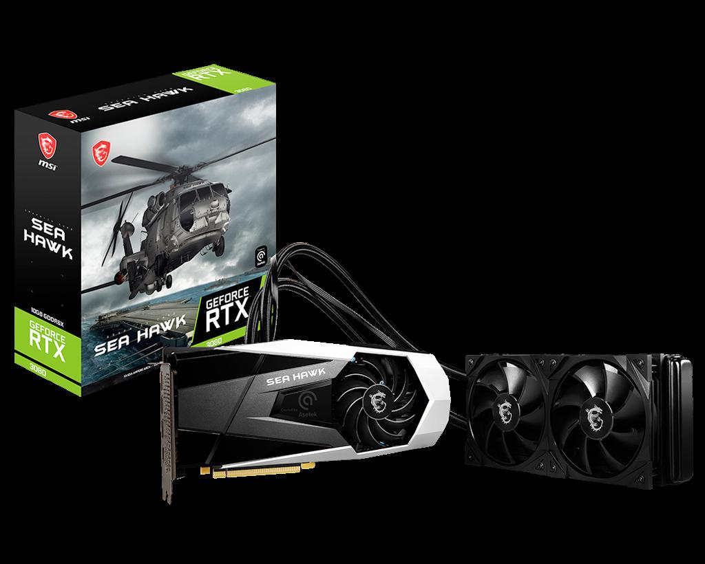 MSI GeForce RTX 3080 Sea Hawk X Package And GPU
