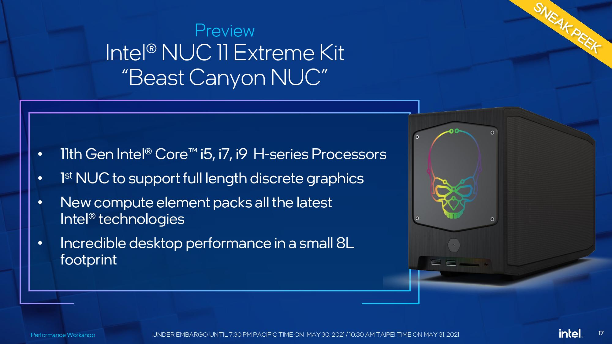 Intel Announces Beast Canyon NUC – 8 Core 10nm SFE 'Tiger Lake' CPU And The Biggest GPU You Can Get