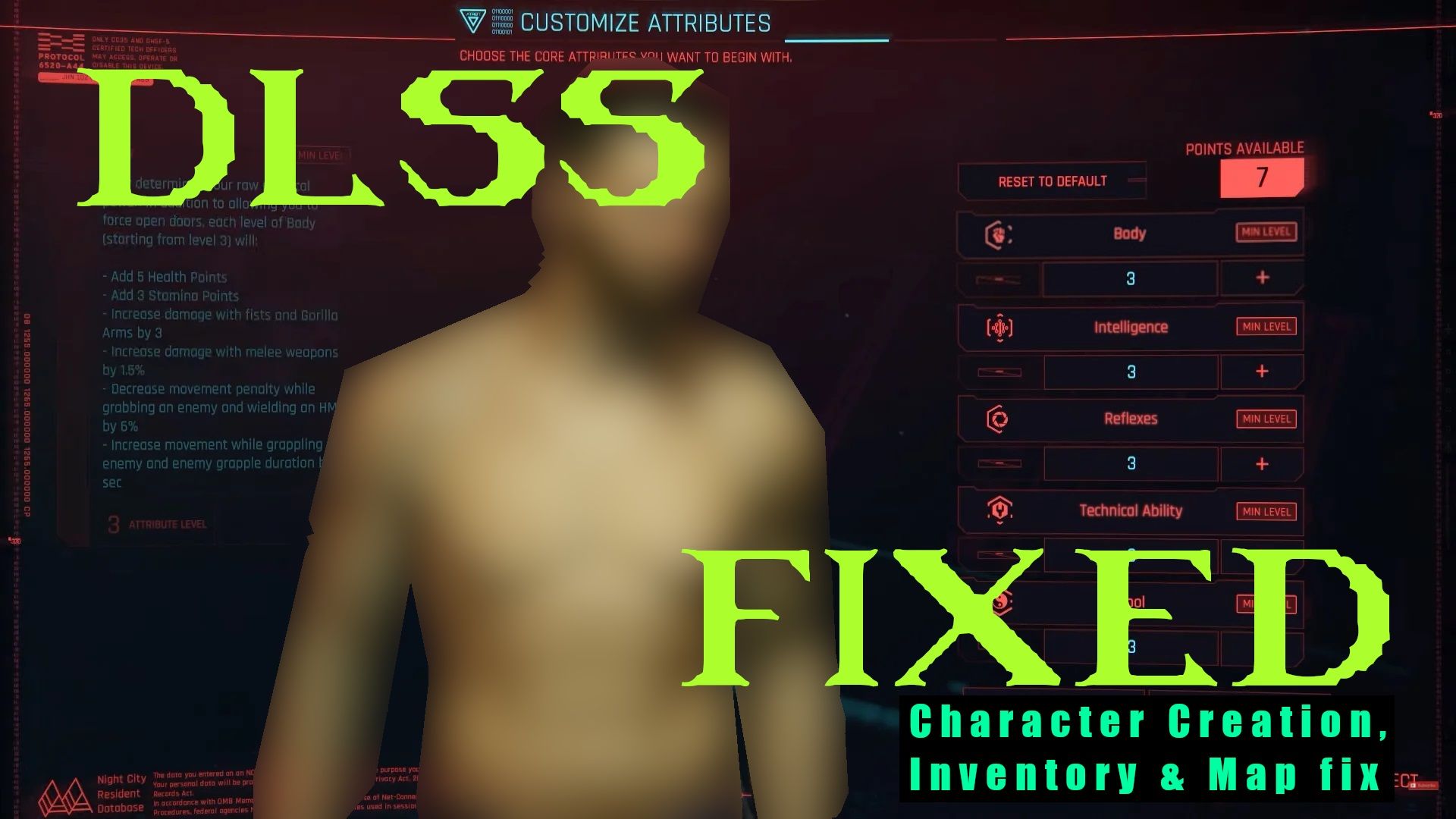 Cyberpunk 2077 New Mod Fixes DLSS Rendering Issues for Inventory and Character Creation