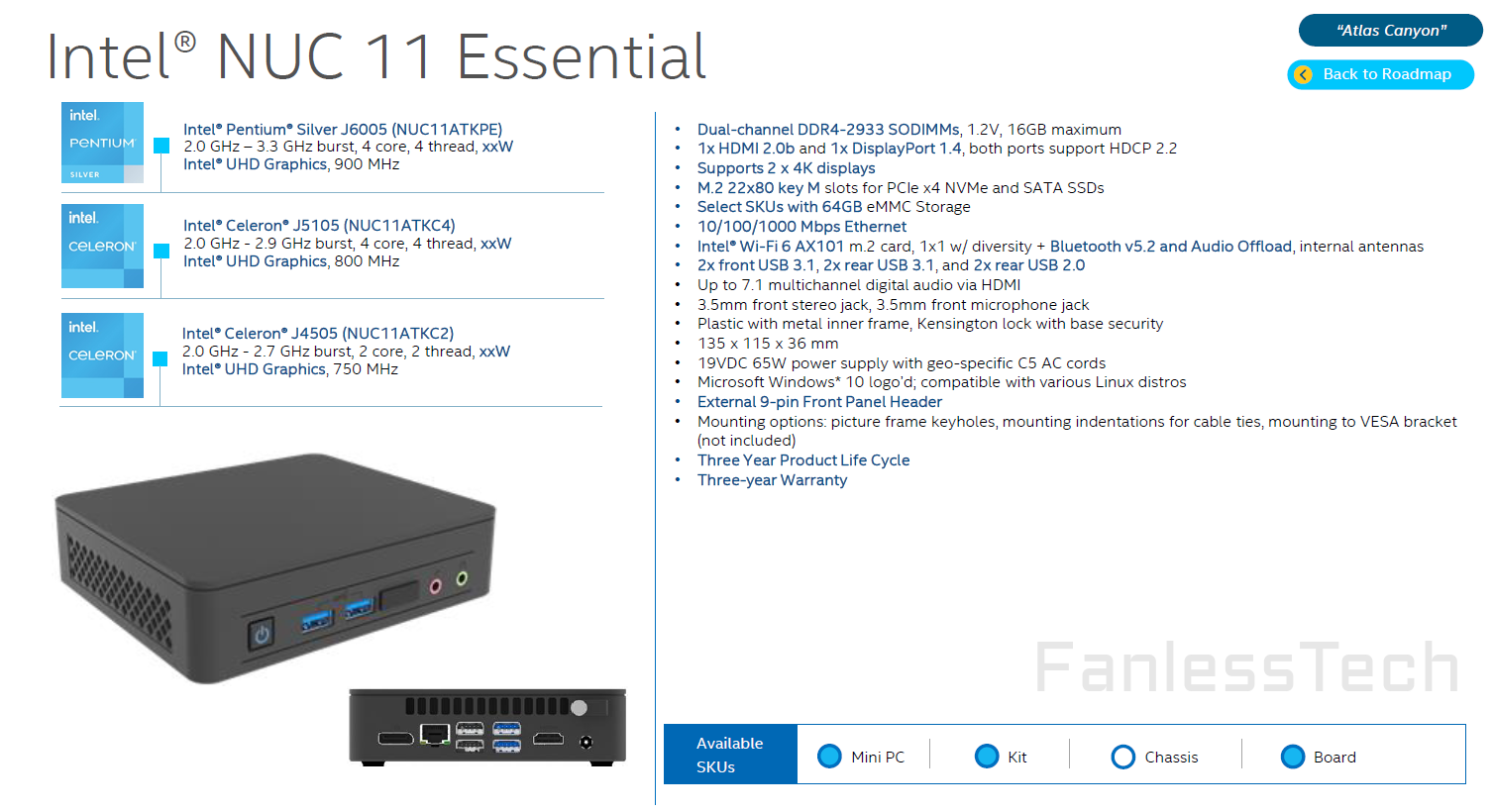 Intel 10nm Jasper Lake Powered NUC 11 Essential 'Atlas Canyon' Mini PC Pictured & Detailed, Up To 4 CPU Cores & Gen 11 Graphics