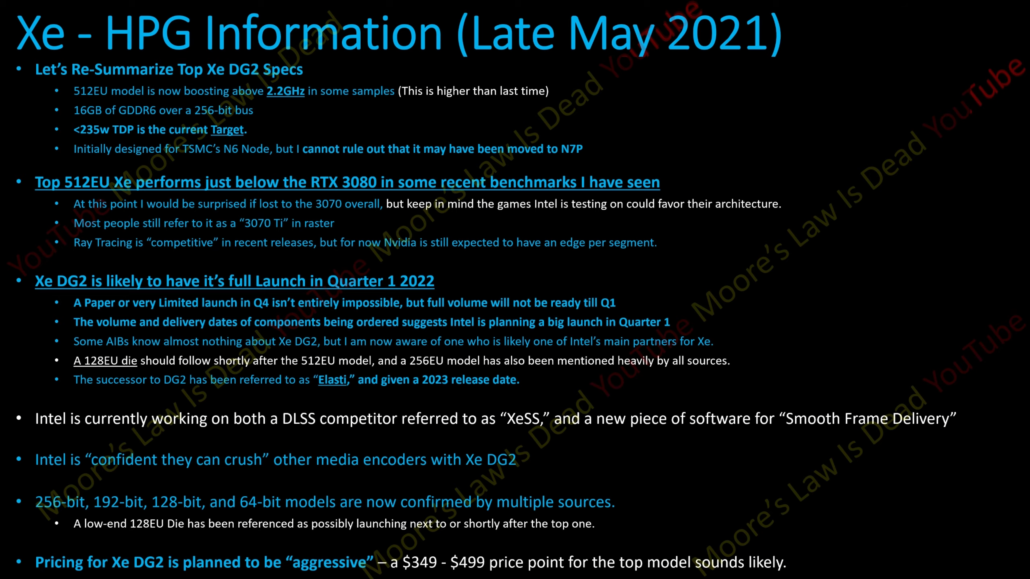 Intel Xe-HPG information and rumor specifications. (Image Source: Moore's Law is Dead)