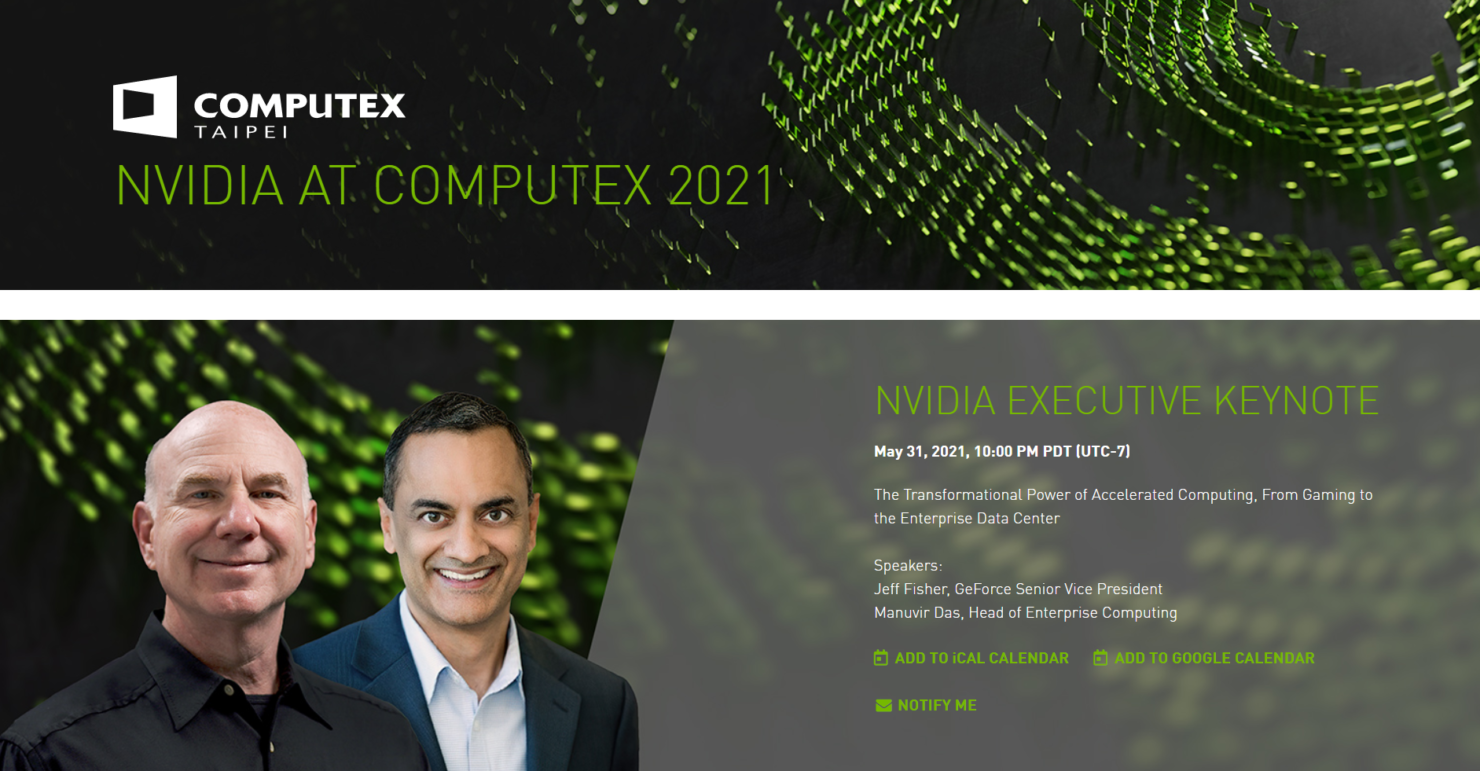 NVIDIA Computex 2021 Keynote Announced For 31st May, Gaming & Data Center Announcements Expected