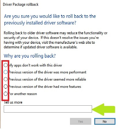 Roll Back Driver Confirmation