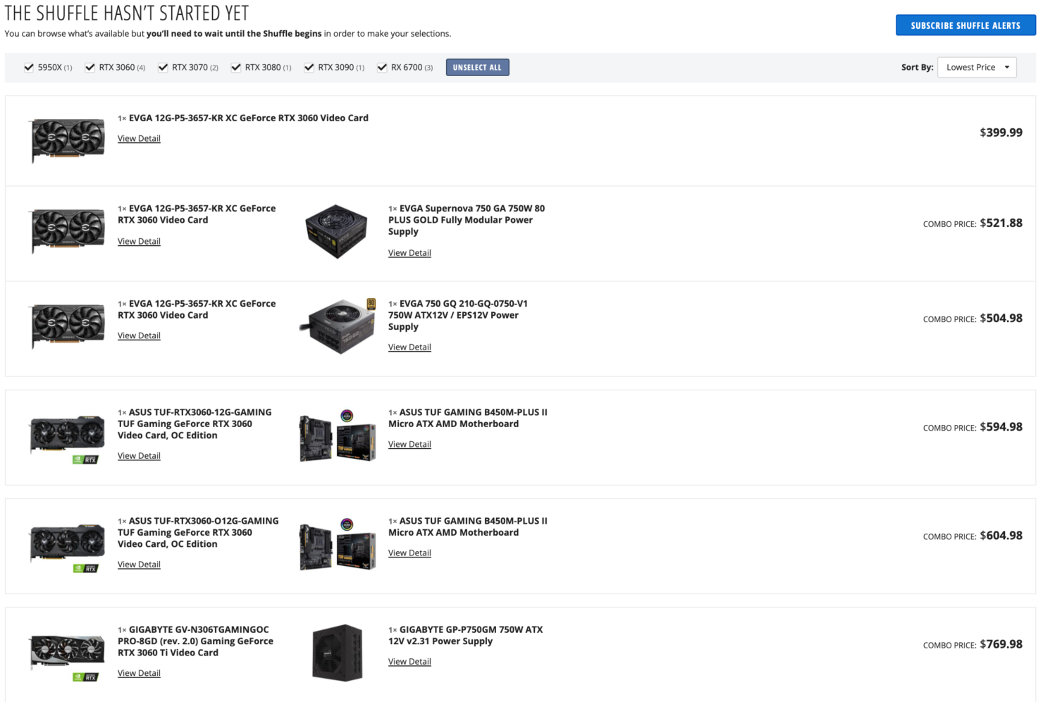 Selection of NVIDIA and AMD graphics cards in the Newegg Shuffle