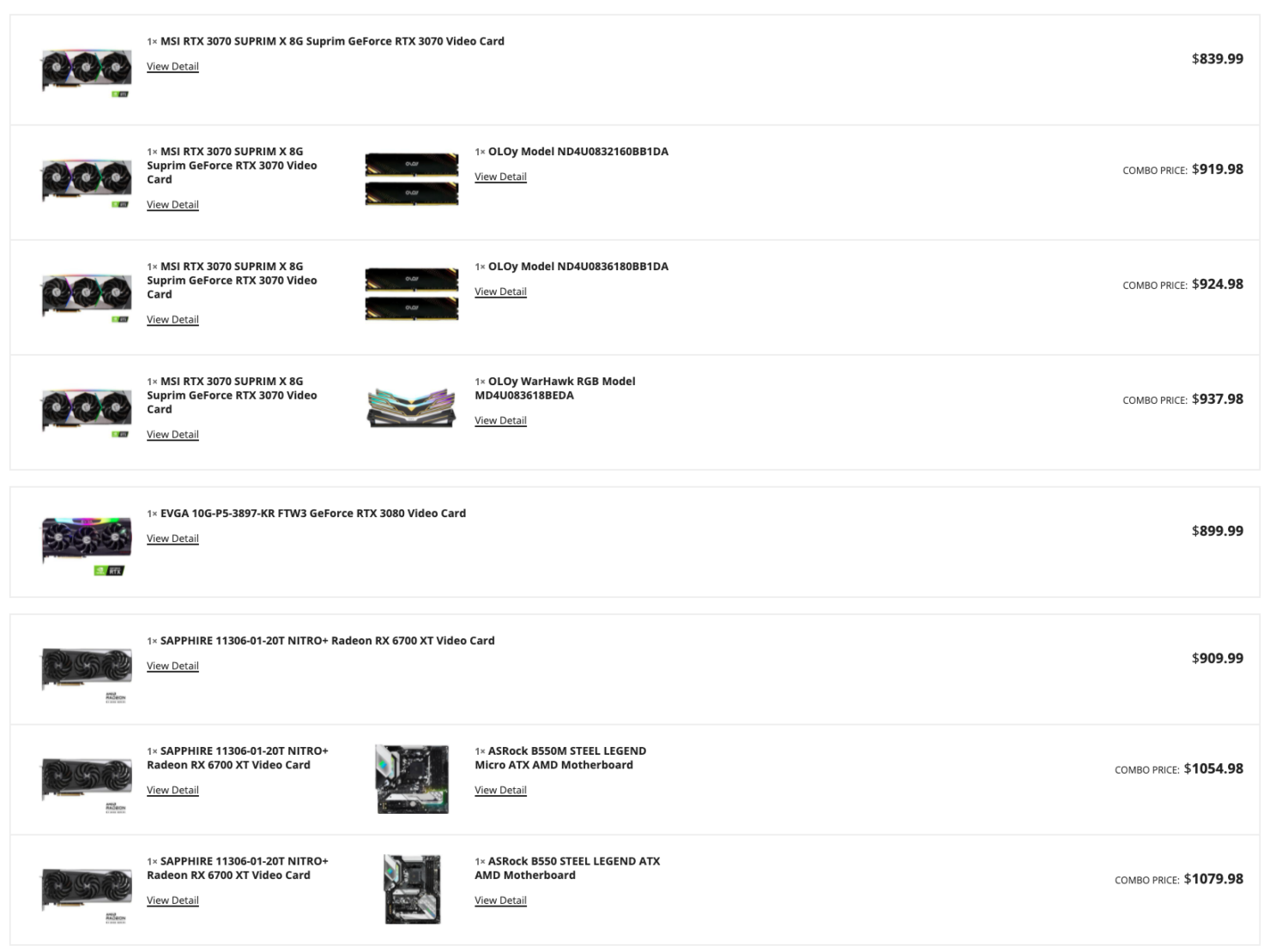 Selection of NVIDIA graphics cards in today