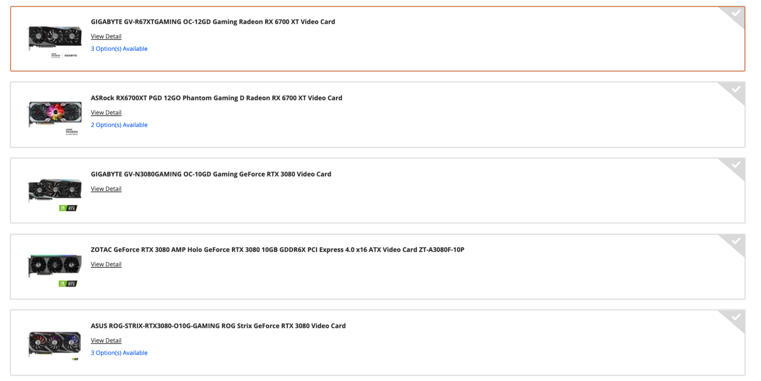 Selection of NVIDIA and AMD graphics cards in today