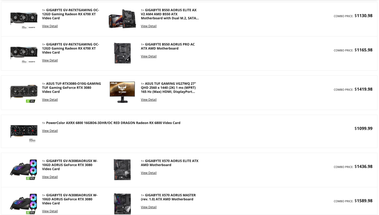 Selection of AMD and NVIDIA graphics cards in today