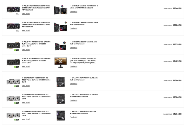 Selection of NVIDIA GeForce RTX 30 series & AMD Radeon RX 6000 series graphics cards in the Newegg Shuffle