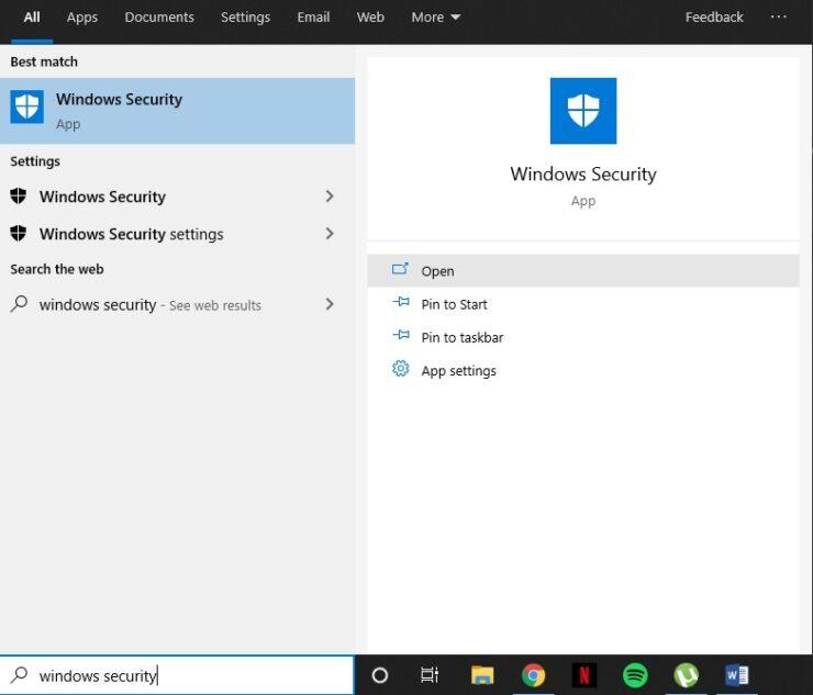 Windows 10 Antivirus Start