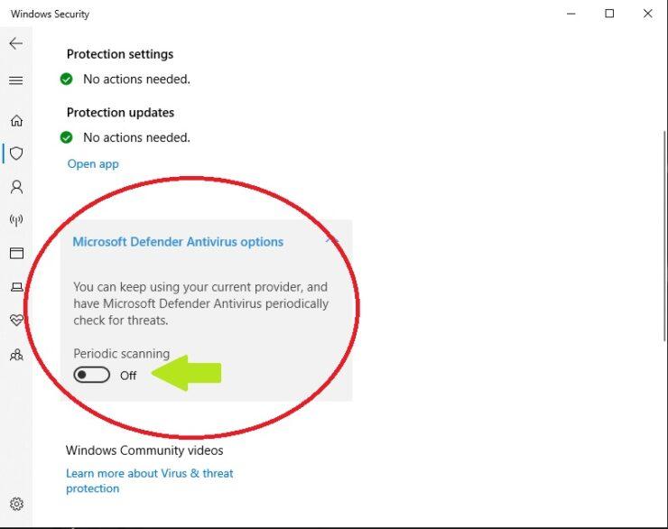 Microsoft Defender Antivirus Options