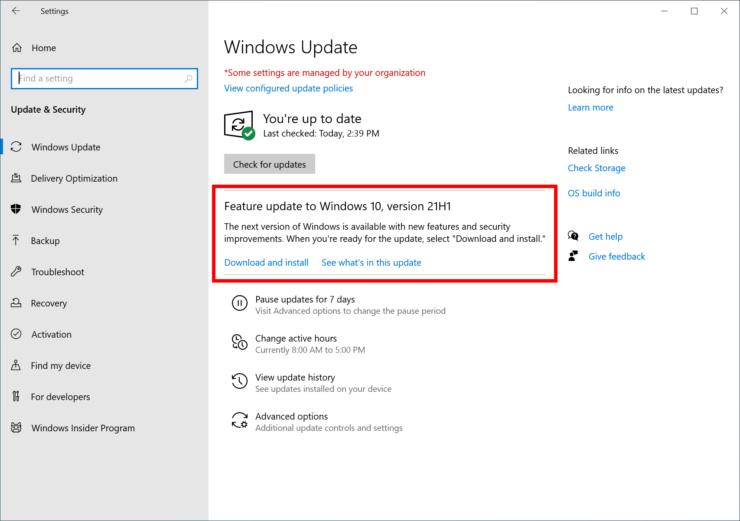 update Windows 10 21h1