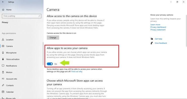 Camera App Permissions