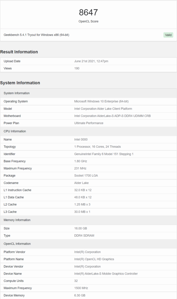 Intel Alder Lake 16 Core Desktop CPU With 32 EU Xe LP GPU