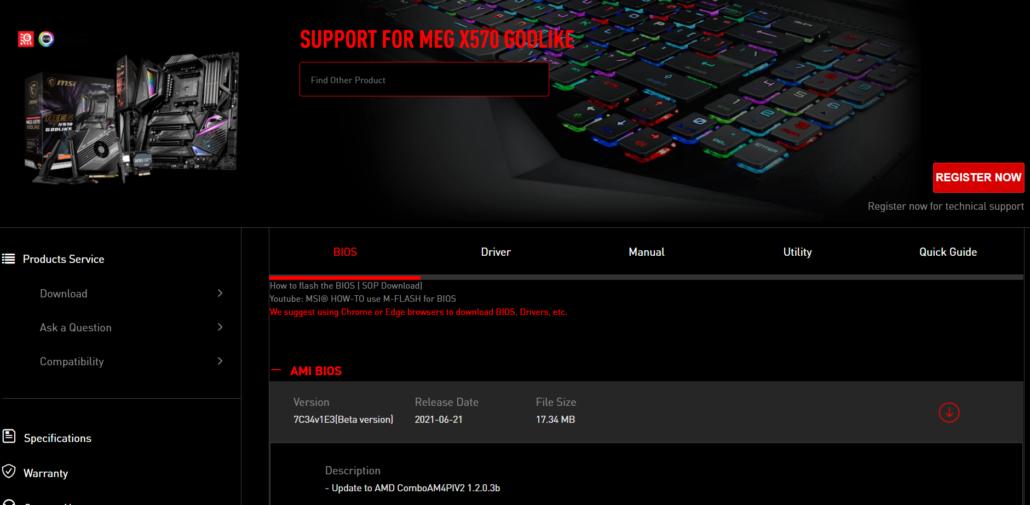 MSI MEG X570 Motherboards AMD AGESA 1.2.0.3 Patch B BIOS Firmware