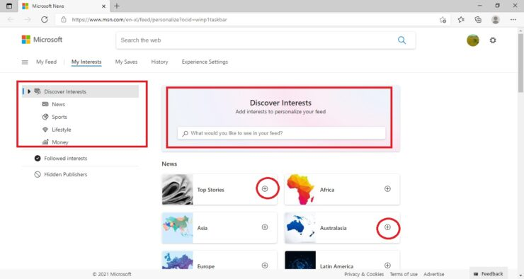 Customize News and Interests Widget