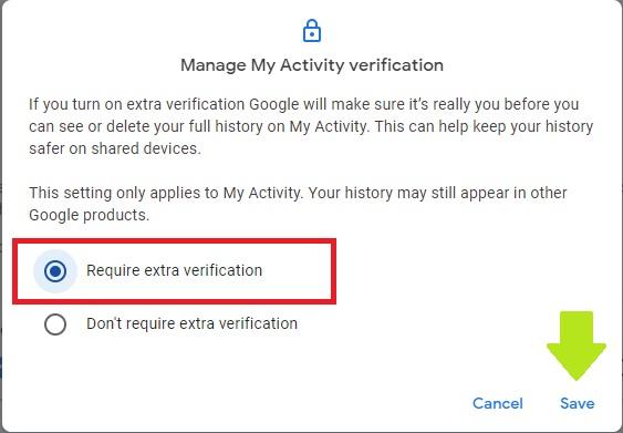 Password Protect Google History