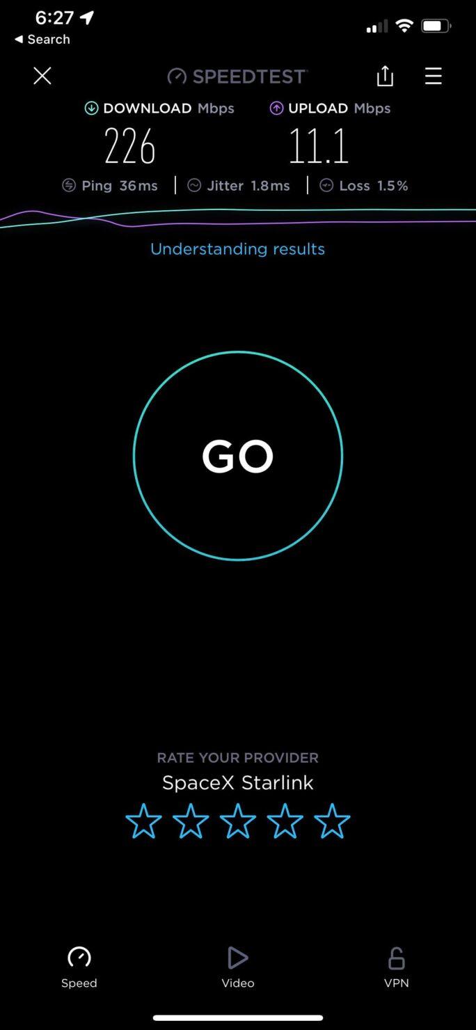 Starlink Arizona internet speed test