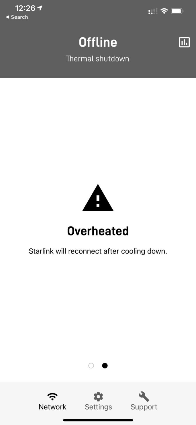 Starlink app overheat message