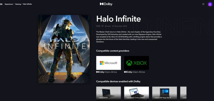 Halo Infinite Dolby Vision
