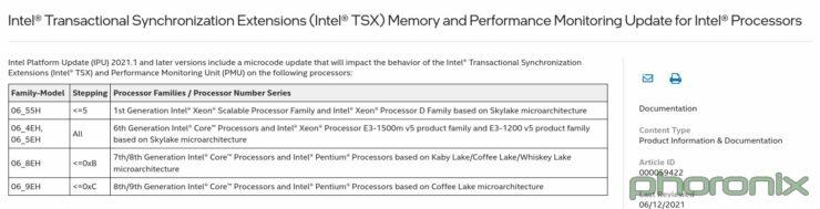 Specs of Intel TSX