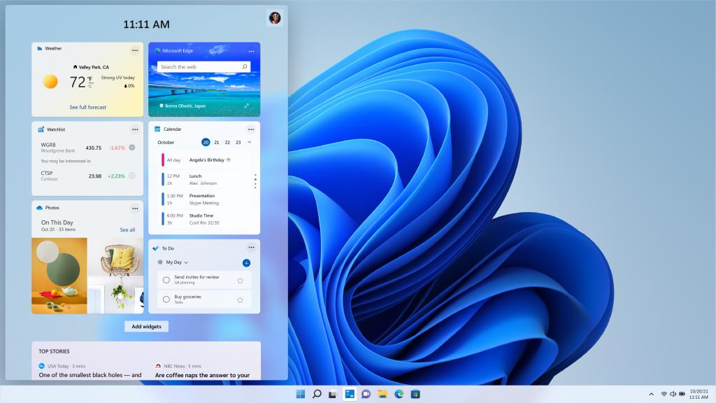 windows 10 widgets