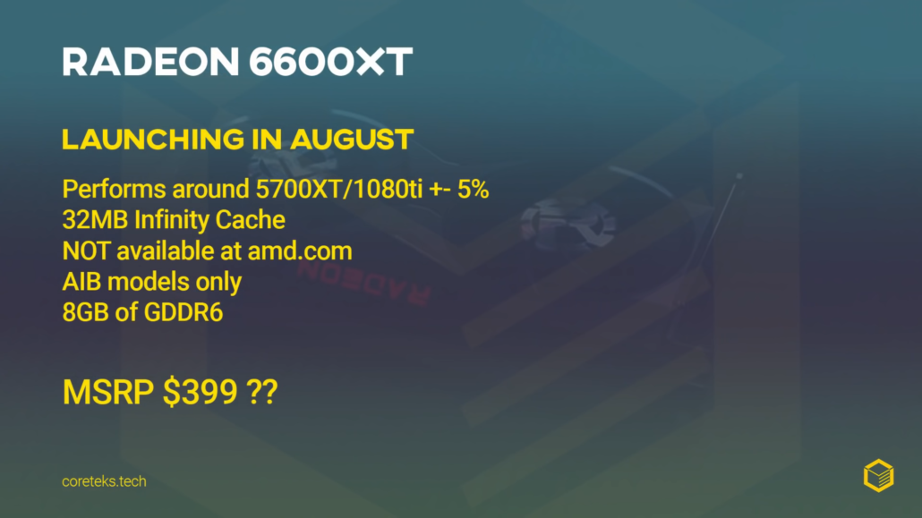 Alleged AMD's Radeon RX 6600 XT graphics card pricing, performance and launch date have been revealed by Coreteks.