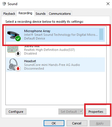 Microphone properties