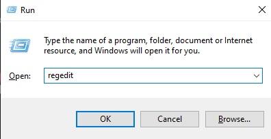 Registry Editor Run command
