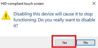 Disable or Enable Touchscreen