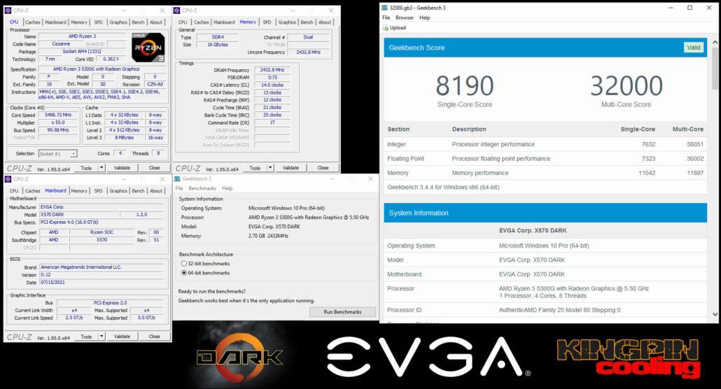 EVGA X570 DARK 2433 MHz FCLK With AMD Ryzen 3 5300G APU